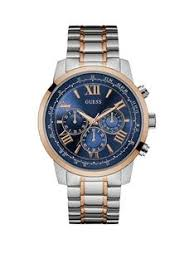 guess mens watches gifts jewellery very co uk guess horizon guess men s silver watch gold trim blue chronograph dial and rose gold and silver bracelet