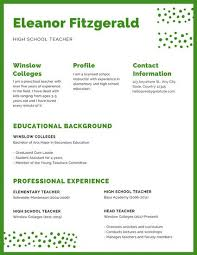 It Teacher Resume Green And White Minimalist Dots Teacher Resume Templates By Canva