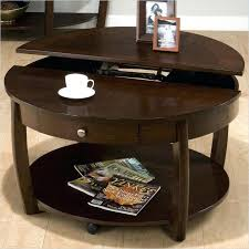 round coffee table with storage riverside round lift top cocktail table in brown walnut 2 gregg