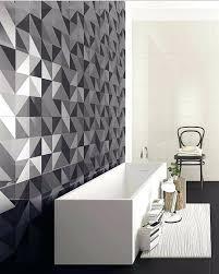 concrete tiles bathroom geometric wall tiles plus rectangular white bathtub and modern bathroom design and disturbing color scheme with weaves pattern rug