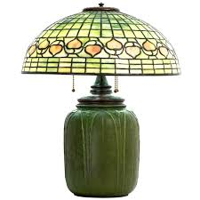signed tiffany studios leaded glass acorn lamp with grueby base