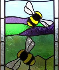 stained glass bees and lavender