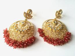 ruby kundan earrings gold filigree chandelier earrings indian