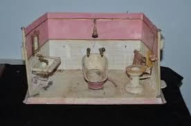 old doll tin bathroom set tin room bath tub sink toilet miniature oldeclectics ruby lane
