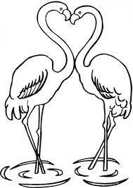 Small Picture Two Flamingos in love coloring page to print for kids Animal