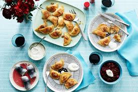 packages pierogi with fillings of cheese and potato mushroom and onion and