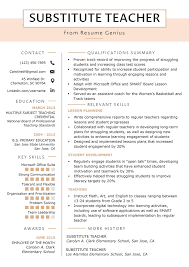 Example Teaching Resumes Substitute Teacher Resume Samples Writing Guide Resume