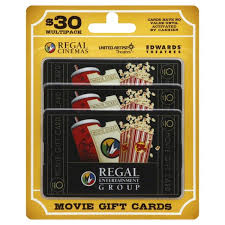 Regal Entertainment Group Gift Cards 30 Multipack 3 Ct