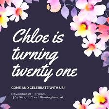 Free Online 21st Birthday Invitation Templates Dark Violet Flowers