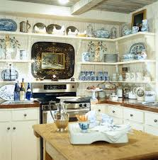 white country kitchen with butcher block. The Use Of Open Shelves Display Blue And White Or..Butcher Block Island/table Adds Countertop Space As Well Interest To Room. Country Kitchen With
