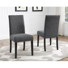 fabric dining chairs with nailheads. furnituremaxx biony gray fabric dining chairs with nailhead trim- set of 2 nailheads