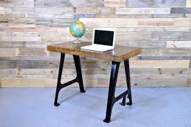 view in gallery minimalist reclaimed wood desk with cast iron machine legs