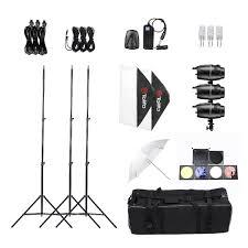 tolifo professional photography photo studio sdlite lighting lamp kit set with 3 180w studio flash strobe light stand softbox soft umbrella cloth
