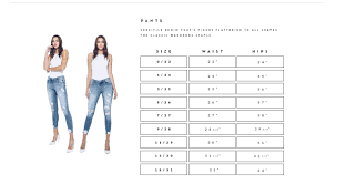 Kancan Jean Size Chart Kancan Usa Sizing Guide For Pants Bling By Kylie