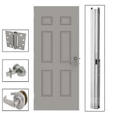 commercial door hardware. 6-Panel Steel Gray Security Commercial Door Hardware A