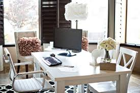 grand style home office. Feminine Office Decor. Interior, Decor White Trays Blinds Dark Varnished Wall Mounted Grand Style Home