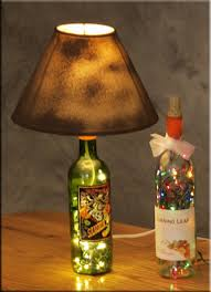 make a beautiful bottle lamp with a unique lamp shade