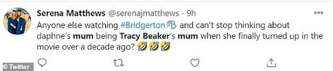 Let us know what you think of tracy's return. Bridgerton Fans Go Wild As They Spot Violet Is Played By Tracy Beaker S Mum Actress Daily Mail Online