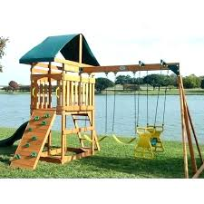 wooden swing sets outdoor set with rock wall kids wood canopy 2 childrens backyard g