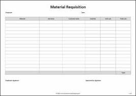 Material Requisition Form Life Skills Templates Accounting