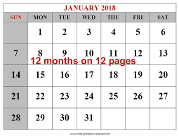 free printable 12 month calendar free printable 2018 calendars download free 2018 12 month calendar