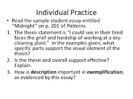 exemplification a mode ppt individual practice the sample student essay entitled midnight on p 201 of patterns
