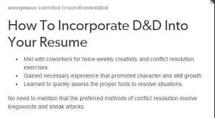 Skills To Mention On A Resume Inspiration How To Incorporate DD Into Your Resume DnD