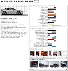 Fr S 86 Brz Media Archive Paint Code Chart Scion Fr S