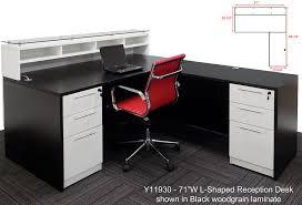 emerge glass top l shaped reception desk w drawers led light 66