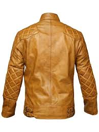 mens tan colour leather jacket