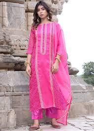 Kota Doria Suits Designs Readymade Leheria Pink Straight Cut Pant Suit