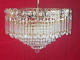 antique crystal solid brass chandelier 41cm french spanish rare style 139
