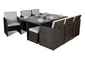 giardino rattan garden furniture 6 seat cube dining set plus umbrella