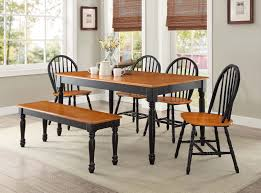 Better Homes And Gardens Autumn Lane Farmhouse 6 Piece Dining Set Bundle Black And Oak Walmartcom