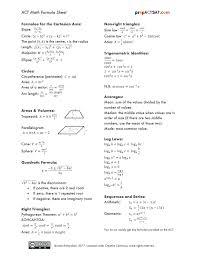 formula sheets act math formula sheet