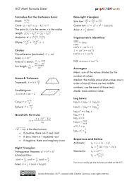 formula sheets act math formula sheet