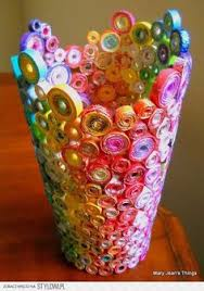 leah adams posted upcycled rainbow vase sculpture made from magazines candy wrappers catalogs coupon circulars to her crafty patterns postboard via