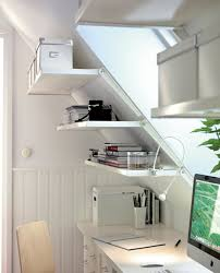 trendy office ideas home. Bookshelf And File Cabinet Storage Shelves On Sloping Wall Painted With White Interior Color For Attic Home Office Ideas Trendy