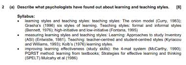 cie psychology paper section b the student room does this mean i m supposed to include everything mentioned above learning and teaching styles measure improving are the sub subtopics