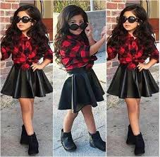 product details of 2pcs girls kids princess plaid tops shirt leather skirt summer outfits clothes intl
