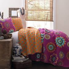 The Penelope Boho Bohemian Moroccan 3 PC Fuchsia Orange Bed Quilt ... & The Penelope Boho Bohemian Moroccan 3 PC Fuchsia Orange Bed Quilt  SET-GoGetGlam Adamdwight.com