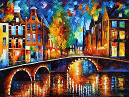 the bridges of amsterdam palette knife oil painting on canvas by leonid afremov size 120cm x 80cm