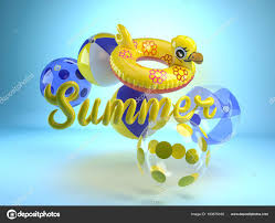 swimming pool beach ball background. 3d Rendering Of Word Summer With Rubber Swimming Ring And Beach Balls. Objects Bouncing Around. Yellow Duck Shape Inflatable Pool Float. Ball Background