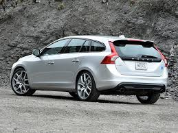 volvo v60 wagon. the v60 is a small wagon, offering just 28 cubic-feet of cargo space behind rear seat and maximum volume 43.3 cubic-feet. volvo wagon 0