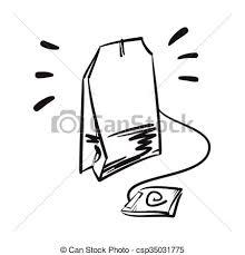 tea bag drawing.  Drawing Tea Bag Vector Hand Drawn Illustration Line Icon On Drawing