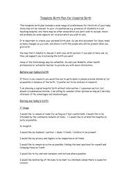Different Birth Plan Options Template Birth Plan For Hospital Birth Nct