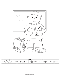 Welcome First Grade Worksheet - Twisty Noodle