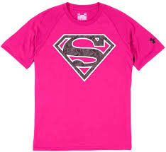 under armour breast cancer. the alter ego shirts from under armour have been out since summer, but this pink superman t-shirt is different. october breast cancer awareness month and