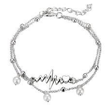 Aofa <b>2Pcs</b>/<b>Set Women</b> Foot Bracelet Heartbeat Faux Pearl <b>Anklet</b> ...
