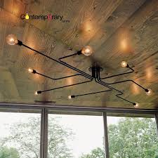 black retro loft nordic ceiling lamp home decor conduit pipe light fixture for restaurant dinning